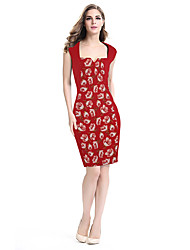 cheap -Women's Work Bodycon Sheath Dress - Color Block Sexy, Vintage Style Stylish Patchwork Printing High Rise Square Neck