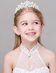 Girl's Crown Rhinestone Pearl Decorative Hollow Out Flowers Hair Accessory