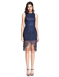 Sheath / Column Jewel Neck Asymmetrical Lace Cocktail Party Homecoming Prom Dress with Lace by TS Couture®