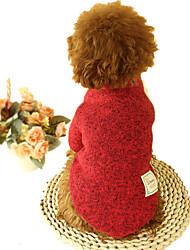 abordables -Perro Suéteres Ropa para Perro Un Color Gris Café Rojo Verde Felpa Algodón Plumón Disfraz Para mascotas Casual/Diario