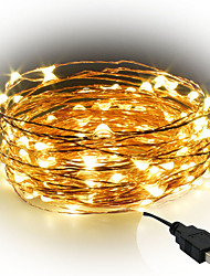 cheap -10m String Lights 100 LEDs Warm White / White / Red <5 V / IP65