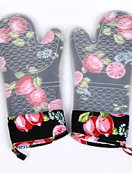cheap -2PC Silicone Oven Mitts Quilted Liner Cherry Pattern BBQ Grilll