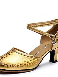 """Femme Modernes Similicuir Sandale Extérieur Boucle Talon Bottier Or Argent Rouge 2 """"- 2 3/4"""""""
