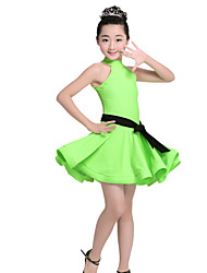 Shall We Latin Dance Dresses Women's Performance Nylon Belt 2 Pieces Sleeveless High Dresses Belt