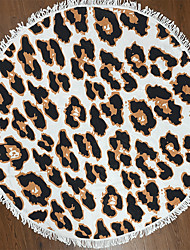 Leopard Geometric Pattern Printing Fiber Round Beach Towel Yoga Mat With Tassel 150cm Printing Bath Towel