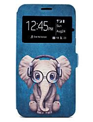 preiswerte -Hülle Für Samsung Galaxy J7 (2016) J5 (2016) Kreditkartenfächer mit Halterung Muster Ganzkörper-Gehäuse Cartoon Design Tier Hart PU-Leder
