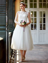 cheap -Princess Illusion Neckline Tea Length Lace Tulle Wedding Dress with Buttons Sashes/ Ribbons by LAN TING BRIDE®