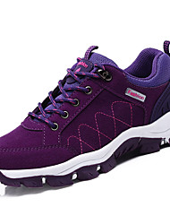 Women's Athletic Shoes Comfort Light Soles Spring Fall PU Hiking Shoes Athletic Lace-up Flat Heel Black Purple Fuchsia Flat