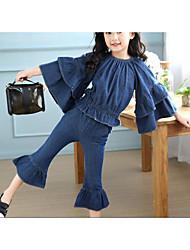 Girls' Stripe Solid Sets,Cotton Summer Clothing Set