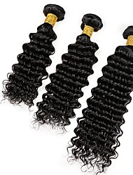Human Hair Indian Natural Color Hair Weaves Deep Wave Hair Extensions 3 Pieces Black