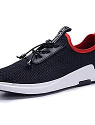 Hombre Zapatillas de deporte Confort Licra Malla respirante Primavera Verano Deportivo Casual Con Cordón Negro Negro/Rojo Plano