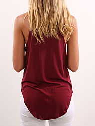 cheap -Women's Shopping Daily Going out Casual Sexy Street chic Spring Summer Tank Top,Solid Simple Sexy Round Neck Sleeveless Polyester Medium