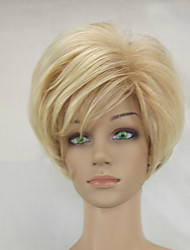 cheap -Woman Shag Blonde Mixed Short Layered Synthetic Straight Hair Wig High Temperature Fiber