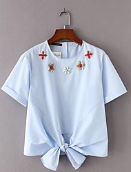 cheap -Women's Daily Going out Casual Sexy Street chic Summer Blouse,Floral Embroidery Round Neck Short Sleeves Cotton Thin Medium