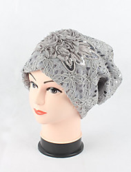 cheap -Women's Cotton Lace Beanie Floppy Hat Headwear Cute Casual Chic & Modern Daily Knitwear Hats Jacquard Spring Fall Floral Cap Black/Beige/Grey