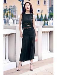 Canotta Pantalone Completi abbigliamento Da donna Compleanno Per uscire Casual Da cerimonia Casual Festività Estate,Tinta unita Rotonda