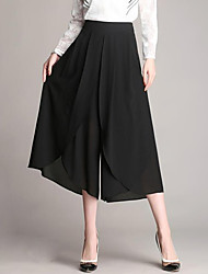 cheap -Women's High Rise Micro-elastic Loose Wide Leg Relaxed Pants,Street chic Solid Polyester Summer