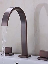 Classico A 3 fori Cascata with  Valvola in ottone Due maniglie Tre fori for  Bronzo lucidato , Lavandino rubinetto del bagno
