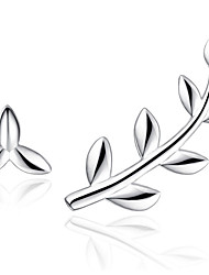 cheap -Stud Earrings  New Mismatching Asymmetry Earrings Fashion Silver  Leaf Shape For Women Party  Daily Movie Gift Jewelry