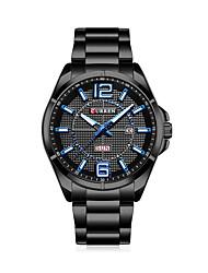 Homens Relógio Elegante Relógio de Moda Chinês Quartzo Aço Inoxidável Banda Casual Preta Prata