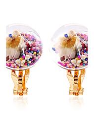 economico -Per donna Chiusura/gancio dell'orecchino Orecchini a clip palla orecchini Floreale Fiori Cerchio Fantasia floreale Di tendenza Rock