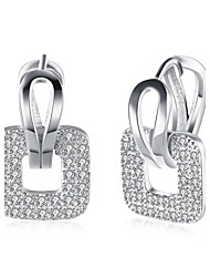 cheap -Women's Cubic Zirconia / AAA Cubic Zirconia Crossover Drop Earrings - Crystal, Stainless Steel, Zircon Friends Personalized, Luxury, Geometric Gold / Silver For Christmas / Party / Special Occasion