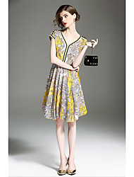cheap -QIN QIN Women's Vintage Sophisticated A Line Loose Dress Print V Neck