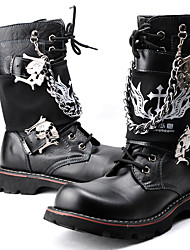cheap -Men's Shoes Synthetic Microfiber PU Winter Fall Combat Boots Motorcycle Boots Fashion Boots Boots Mid-Calf Boots for Casual Party &