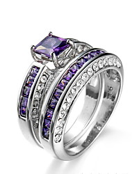 cheap -Ring Women's 2 Pcs Euramerican Luxury Personalized Creative Detachable Purple Zircon Geometric Ring Daily Party  Movie Business Gift Jewelry