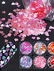 cheap -6 Box Mixed Color Heart Shape Nail Sequins Flakes Pink Purple Glitter Paillette Manicure Nail Art Decoration