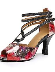 Damen Latin Seide Sandalen Sneakers Professionell Verschlussschnalle Blockabsatz Rot 5 - 6,8 cm Maßfertigung
