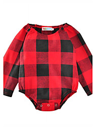 Baby Plaid/Check One-Pieces Cotton Summer Long Sleeve Baby Romper Bodysuits Kids Jumpsuits
