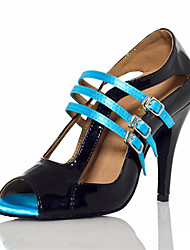 "cheap -Women's Latin Silk Sandal Sneaker Professional Buckle Stiletto Heel Black 2"" - 2 3/4"" Customizable"