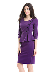 cheap -Women's Party Work Plus Size Vintage Sexy Bodycon Sheath Dress,Solid Round Neck Knee-length 3/4 Length Sleeves Cotton Polyester Spandex