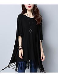 Standard Pullover Da donna-Casual Tinta unita Rotonda Mezza manica Cashmere Primavera Medio spessore Media elasticità