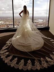 cheap -Two-tier Lace Applique Edge Wedding Veil Chapel Veils 53 Appliques Satin Flower Tulle