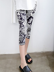 Da donna A vita medio-alta Vintage Elastico magro Pantaloni,Taglia piccola Con stampe