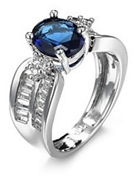 cheap -Ring Settings Ring Band Rings Women's Euramerican Luxury Elegant Creative Zircon Blue Round  Wedding Birthday Party Movie Gift Jewelry