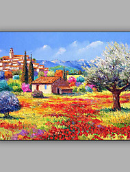 cheap -Large Size Hand-Painted Landscape Quiet Village One Panel Canvas Oil Painting For Home Decoration No Framed