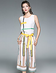Women's Daily Street chic Summer Tank Top Pant Suits,Striped Round Neck Sleeveless Polyester Inelastic