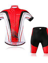 economico -WOSAWE Manica corta Maglia con pantaloncini da ciclismo - Rosso Bicicletta Set di vestiti, Strisce riflettenti