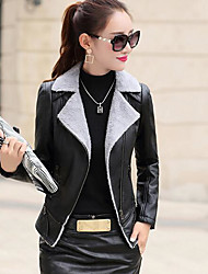 Women's Casual/Daily Simple Winter Leather Jacket,Solid Peaked Lapel Long Sleeve Regular PU