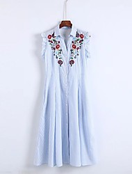 Feminino Solto Reto Vestido,Para Noite Casual Simples Moda de Rua Estampado Riscas Colarinho de Camisa Altura dos Joelhos Sem MangaSeda