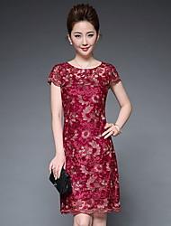Feminino Evasê Bainha Vestido,Festa Tamanhos Grandes Temática Asiática Bordado Decote Redondo Altura dos Joelhos Manga Curta Poliéster