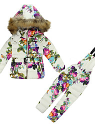 cheap -Girls' Floral Clothing Set, Cotton Winter Long Sleeves Floral Blue White
