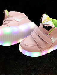 Girls' Sneakers Light Up Shoes Spring Summer Fall Leatherette Leather Walking Shoes Casual Outdoor LED Magic Tape Low Heel White Black
