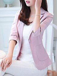 cheap -Women's Office & Career Formal Work Spring/Fall Summer Jacket,Solid V Neck 3/4 Length Sleeve Short Polyester