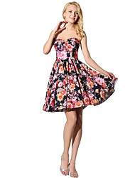 cheap -Princess Fit & Flare Strapless Short / Mini Satin Chiffon Cocktail Party Prom Dress with Pattern / Print by Sarahbridal