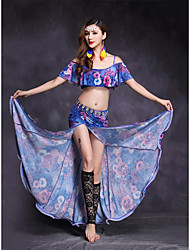 Belly Dance Outfits Women's Performance Nylon Spandex 2 Pieces Short Sleeve Natural Top / Skirts