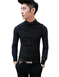 cheap -Men's Daily Casual Spring Summer Shirt,Solid Shirt Collar Long Sleeves Organic Cotton Medium